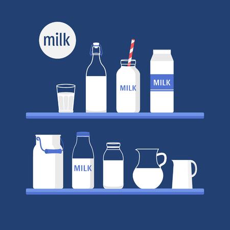 vaso de leche: Vector conjunto de envases para la leche Vectores