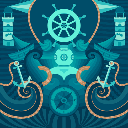 mariner: Vector marine background with anchor, wheel, diver, lighthouse, ship, compass. Decorative vector background for cards, invitations, banners, web pages. Illustration in a nautical style.