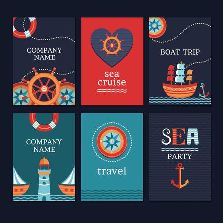timon de barco: colección de vectores de tarjetas de marinos y volantes. Guarde la plantilla tarjetas de fecha. Fije las banderas en el estilo de mar. Conjunto de elementos para tarjetas e invitaciones. Vectores