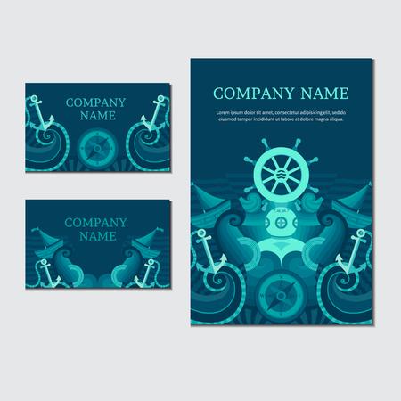 timon de barco: La identidad corporativa en un tema náutico. Vector conjunto de tarjetas de invitación mar. Colección de carteles sobre el tema marino. Ilustración en el tema marino. Vectores