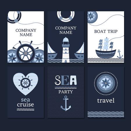 timon barco: colección de vectores de tarjetas de marinos y volantes. Guarde la plantilla tarjetas de fecha. Fije las banderas en el estilo de mar. Conjunto de elementos para tarjetas e invitaciones. Vectores