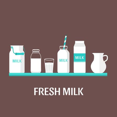 Vector set d'emballages pour le lait. magasin de lait. Design plat illustration Banque d'images - 53600988