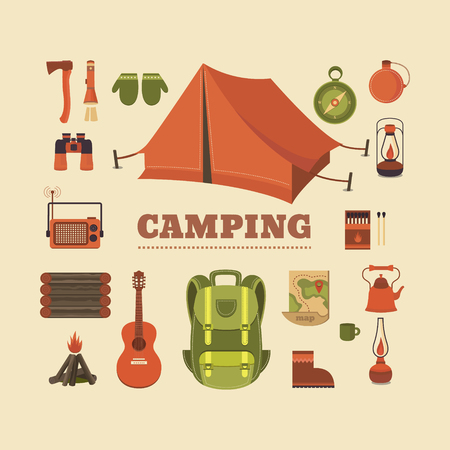 hiking boot: Vector set of equipment for camping. Illustration on the camping theme. Sports and outdoor recreation. Background for cards, invitations. Retro style. Illustration