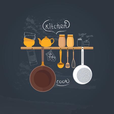Vector set di utensili da cucina per la cottura