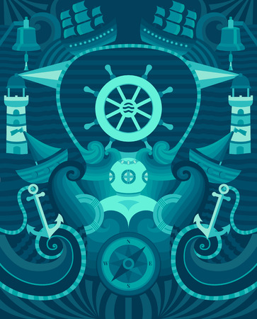 mariner: Decorative vector background for cards, invitations, banners, web pages. Illustration in a nautical style. Flat style. Decorative sea texture.
