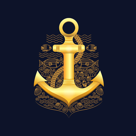 mariner: Vector illustration of golden sea anchor on a dark background. Anchor with rope, fish, shells. Illustration in a nautical style. Vector background for cards, invitations, banners, web-sites. Illustration