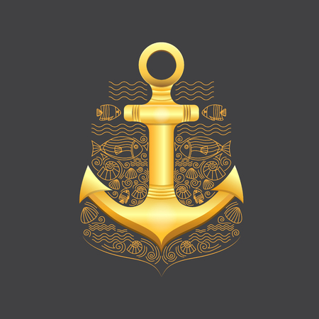 thin shell: Vector illustration of golden sea anchor on a dark background. Anchor with rope, fish, shells. Illustration in a nautical style. Vector background for cards, invitations, banners, web-sites. Illustration