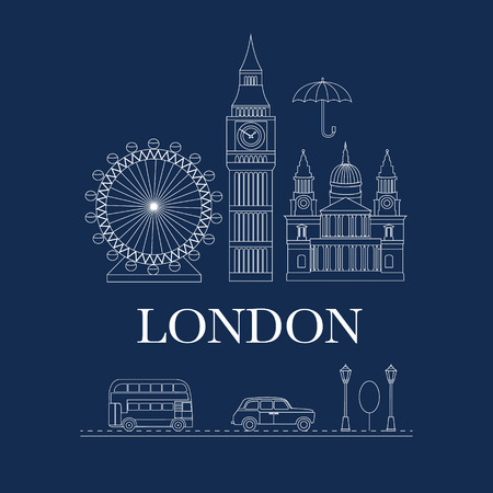 Set of vector line icons London. Sights of Britain. Set of elements United Kingdom. Vector illustration on the theme of England. Collection of flat icons. Template for design.