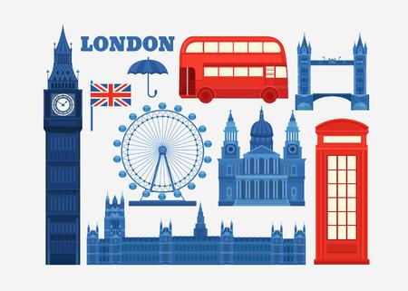 Ensemble de vecteur icônes de Londres. Vues de la Grande-Bretagne. Ensemble d'éléments Royaume-Uni. Vector illustration sur le thème de l'Angleterre. Collection d'icônes plates. Modèle pour la conception.