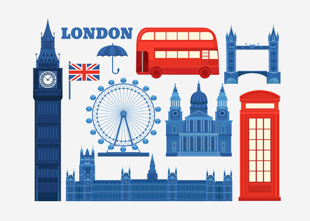 britain: Set of vector icons London. Sights of Britain. Set of elements United Kingdom. Vector illustration on the theme of England. Collection of flat icons. Template for design.