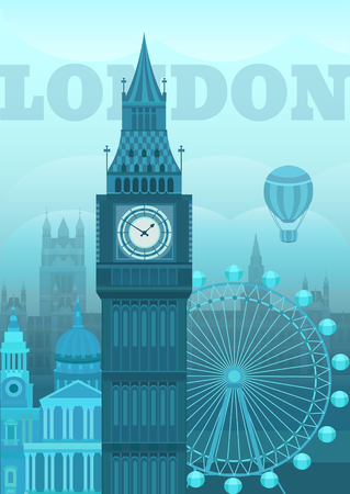 Vector illustration of London. Postcard London. Sights of Britain. Vector illustration on the theme of England. Vector background for invitation cards, banners, covers, postcards, flyers, posters