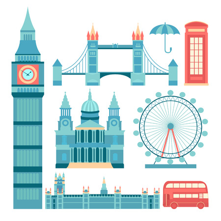 st pauls: Set of vector icons London. Sights of Britain. Set of elements United Kingdom. Vector illustration on the theme of England. Collection of flat icons. Template for design.