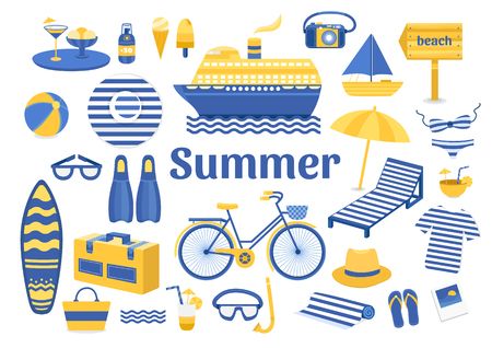Set of vector summer. Set of flat icons summer vacation. Collection of elements of summer vacation, travel, holiday, sports. Vector illustration of summer. Elements for design. Template for design Vettoriali