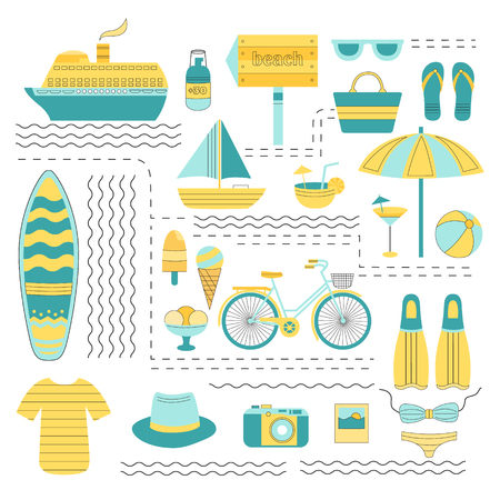 suntan cream: Set of vector summer. Set of flat icons summer vacation. Collection of elements of summer vacation, travel, holiday, sports. Vector illustration of summer. Elements for design. Template for design.