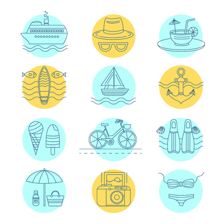 thin shell: Set of vector line icons on the summer theme. Collection of line icons for summer travel. Different elements of a summer vacation - a cruise liner, beach, surfboard, boat, swimsuit, cocktail and other
