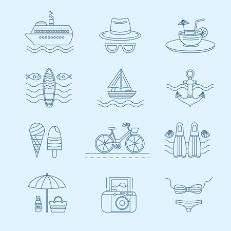 cruise liner: Set of vector line icons on the summer theme. Collection of line icons for summer travel. Different elements of a summer vacation - a cruise liner, beach, surfboard, boat, swimsuit, cocktail and other