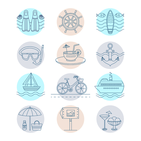 suntan cream: Set of vector line icons on the summer theme. Collection of line icons for summer travel. Different elements of a summer vacation - a cruise liner, beach, surfboard, boat, bike, cocktail and other