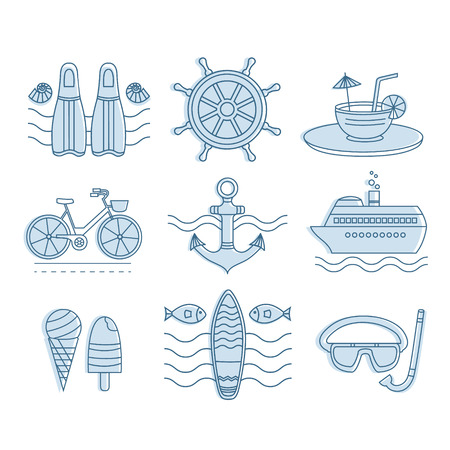 cruise liner: Set of vector icons summer. Collection of line icons for summer travel. Different elements of a summer vacation - a cruise liner, beach, surfboard, boat, ice cream, cocktail and other