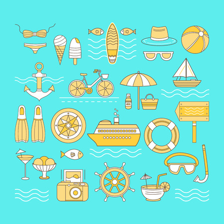 cruise liner: Set of vector icons summer. Banner on the theme of summer. Different elements of a summer vacation - a cruise liner, beach, surfboard, boat, swimsuit, cocktail, hat, sunglasses and other.