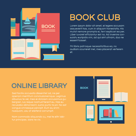 videobook: Banners template with books.
