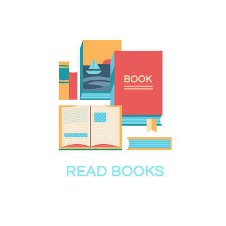 book club: illustration of books. Banner book club. Collection of elements for design. Set of icons. Background for banners, invitation cards, web pages, covers, posters. Flat style.