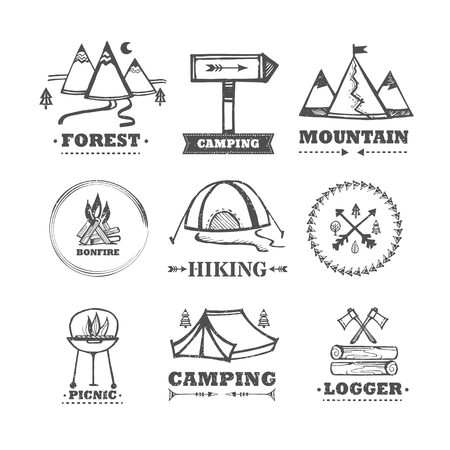 mountain road: set of icon camping and outdoor recreation.