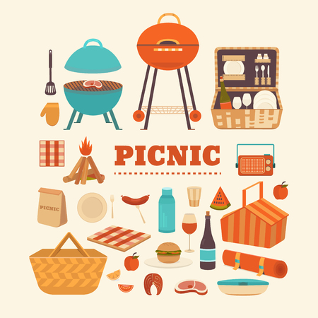 set of summer picnic.