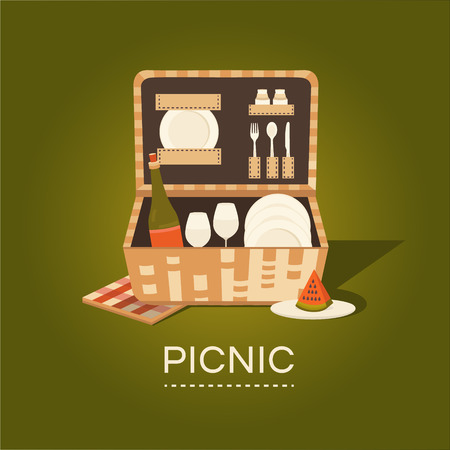 illustration of a picnic basket. Set for barbecue. Summer weekend outdoors. Family picnic. Collection of objects: basket, wine, plate, fork, spoon, glass, napkins Rest in park