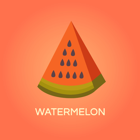 illustration of watermelon. Fresh juicy fruit. Banner with a slice of watermelon. Background  for cards, wallpapers, invitations, web pages, cover, poster. Flat style. Template for design. Illustration