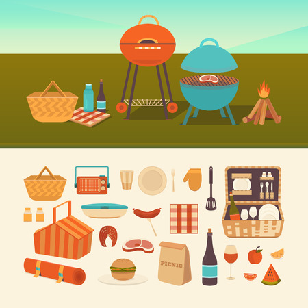 family hiking: set of summer picnic. Barbecue outdoors. Illustration of a picnic in the park. Family weekend in nature. Collection of icons: barbecue grills, basket, fruits, sandwich, wine.