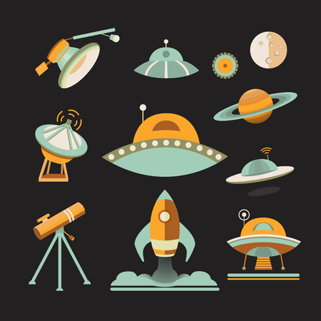 meteor crater: Space icon set. Collection of space objects: planets, ufo, rocket, moon, satellite, telescope. Icons flat style. Symbols of universe and cosmos. Illustration in vintage style
