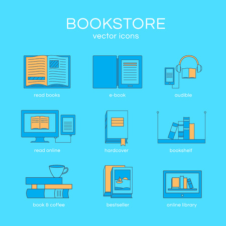 magazine stack: Set of icons a bookstore. Vector collection of objects: e-book, book and coffee, bookshelf and library. Illustration of training and education. Template for design. Illustration