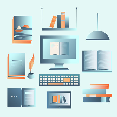 electronic publishing: Set of books. Icon collection: book, ebook, library, computer, shelf. Vector objects for banners, cards, invitations website pages posters backgrounds Elements for design Illustration