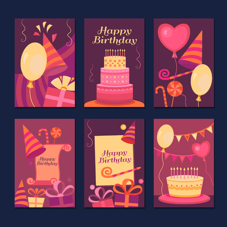 old poster: Set of cards Happy Birthday. Collection greeting templates. Invitation cards to the party. Vector banners with cake, balloons, candy, gifts. Illustration