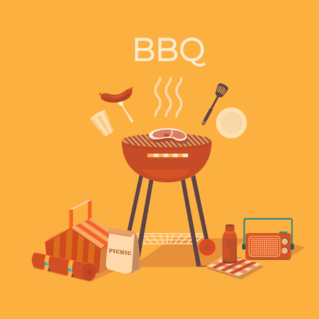 steak plate: Vector illustration of a barbecue outdoors. Picnic set. Family weekend.  Collection of objects: bbq grill, basket, steak, plate, fork, sausage, glass. Rest in park. Illustration