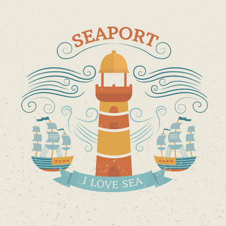 frigate: Vintage labels with lighthouse and ship. Design for prints. Marine vector illustration for design t-shirts and bags. Background for banners, cards, invitations, web pages, covers, flyers, tags.