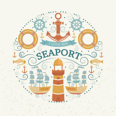 navigable: Vector concept with sea symbols. Collection of marine elements: anchor, lighthouse, ship, lifebuoy, helm, fish. Background for t-shirt, banners, cards, flyers, invitations, covers, web pages.