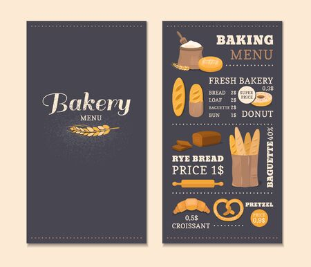 bakery price: Menu template cafe bakery. Concept of the cover design menu. Collection of vector elements: bread, flour, donut, baguette, croissant. Illustration of baking.