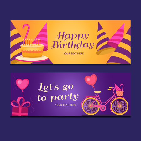 lets party: Happy birthday banners collection. Set of greeting templates. Invitation cards to the party. Vector cards with cake, balloons, candy, gifts, caps and bike. Poster lets go to party.
