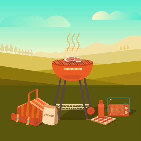 Vector illustration of a barbecue outdoors. Summer picnic in the park. Weekend with family and friends. Collection of objects: bbq grill, basket, steak and others.
