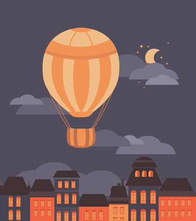 Illustration of a balloon and the city. Background for banners, postcards, invitation cards, web pages, covers, posters. Flat vector style. Illustration