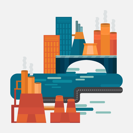polluted cities: Concept design factory. Vector illustration: factory in the city. Industrial landscape with buildings.