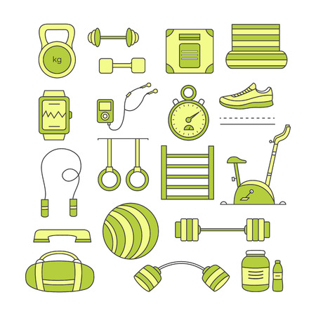Set of sports elements. Collection fitness vector objects: kettlebell, dumbbell, mat, barbell, fitball, stationary bike, sports nutrition, jumping rope and others. Equipment for sports workout.