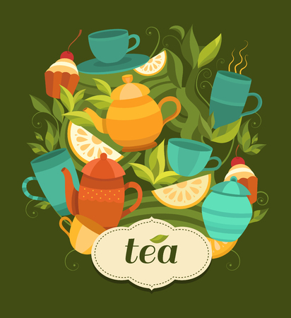 Design tea packaging. Vector background with cups, teapot, sugar bowl, tea leaf, cakes, lemon. Template for design: packaging, printing, banner, labels, tag, card, packet, flyer, cover. Illustration