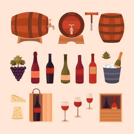 winemaking: Set of wine design elements: different bottles, barrels of wine, glasses, cheese, grape and corkscrew. Vector collection icons winemaking business. Background for labels, tags, packaging, brochures. Illustration