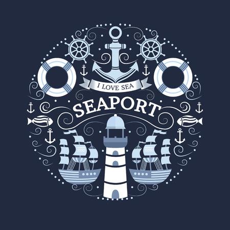 Vector concept with sea symbols. Collection of marine elements: anchor, lighthouse, ship, lifebuoy, helm, fish. Background for t-shirt, banners, cards, flyers, invitations, covers, web pages.