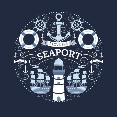 Vector concept met zee symbolen. Het verzamelen van mariene elementen: anker, vuurtoren, schip, reddingsboei, roer, vis. Achtergrond voor t-shirt, banners, kaarten, flyers, uitnodigingen, covers, webpagina's.
