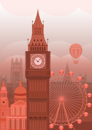 Vector illustration of London. Postcard sights of Britain. Template on the theme of England. Background for invitation cards, banners, covers, postcards, flyers, posters.