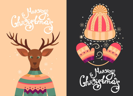 mitten: Merry Christmas vector greeting cards with deer, hat and mittens. Template with handdrawn xmas lettering. Background  for banner, invitation, postcard, poster, cover and flyer. Illustration