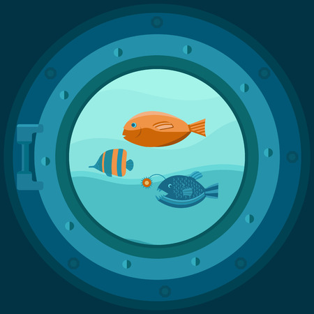ship porthole: Illustration of a ship porthole with fish. Marine background with waves. Vector template for cards, invitations, covers, banners, wrapping paper and packaging. Flat style.